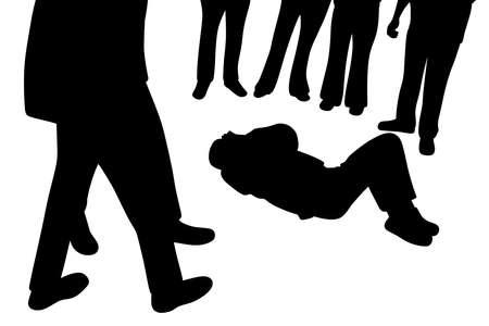 Hombre víctima herido acostado y grupo de curiosos de pie a su alrededor Ilustración de vector
