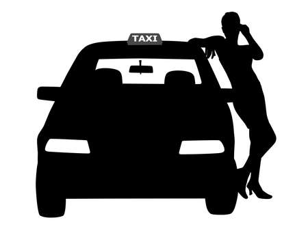 Woman taxi driver standing next to the taxi service car, waiting for a passenger