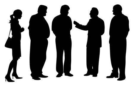 Group of business people at a meeting talking. Four businessmen and one businesswoman talking about new project plan.