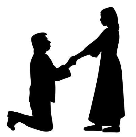 Uomo in ginocchio che tiene per mano una donna e le chiede di sposarsi