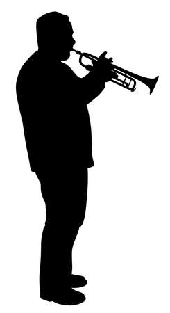 Illustration silhouette of a man playing trumpet. Isolated white background. EPS file available.