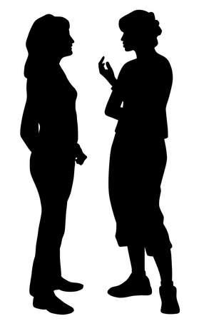 Two young women friends talking