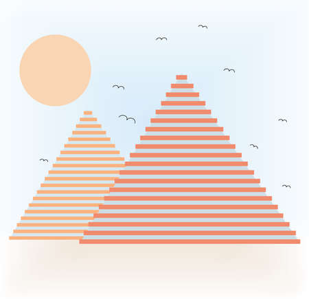 Illustration of abstract pyramids in desert. EPS file available. Illustration