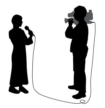 Journalist news reporter woman with microphone and cameraman making reportage Illustration