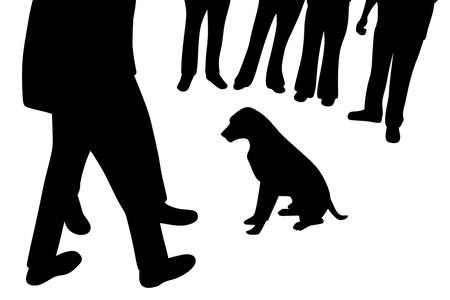 Illustration silhouette of a dog sitting and people around dog. Isolated white background. EPS file available. Illustration