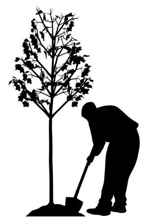 Illustration silhouette of a young man planting a tree. Isolated white background. EPS file available.