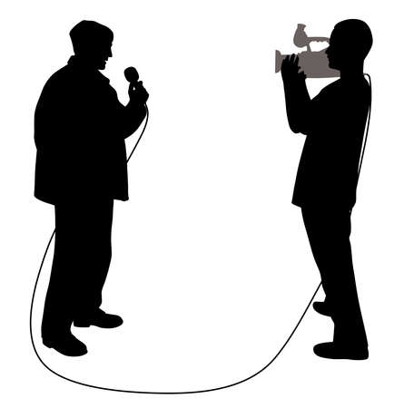 Illustration of journalist news reporter with microphone and cameraman making reportage. Isolated white background. EPS file available.