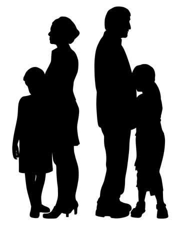 Geschiedene getrennte Eltern mit ihren beiden traurigen unglücklichen getrennten Kindern. Familienspaltung und Sorgerechtskonzept.