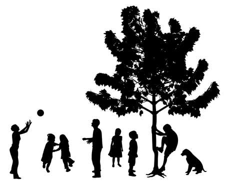 Happy children playing in the park outdoors, dancing, running, playing with ball, climbing up a tree. Stock Illustratie