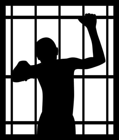 Man in gevangenis achter tralies Vector Illustratie