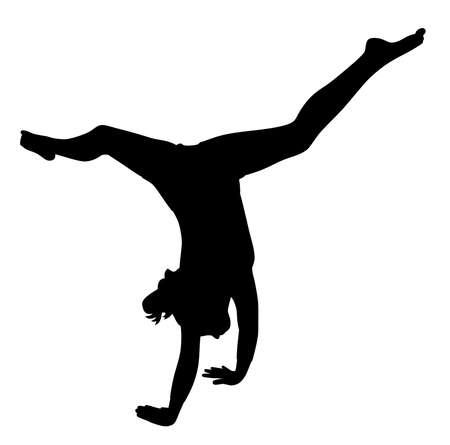 Gymnast girl making handstand