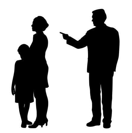 Homme mari abusif père abusant émotionnellement femme femme et enfant effrayé. Concept de violence domestique familiale. Père et mari de parent abusif.