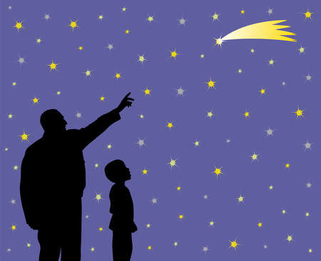 Father is showing falling star to his amazed child. Father is pointing at shooting star going across the star field. Little child is looking at long tail star with wow face. Father is teaching kid about science, astronomy and explains to him that shooting star can be comet, meteorite, asteroid or just a lucky star, so his son can make a wish by seeing at shooting star. EPS file available.