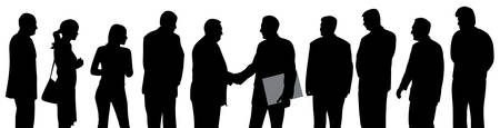 Business people group at a meeting  with two businessmen shaking hands and one of them holding folder with contract.