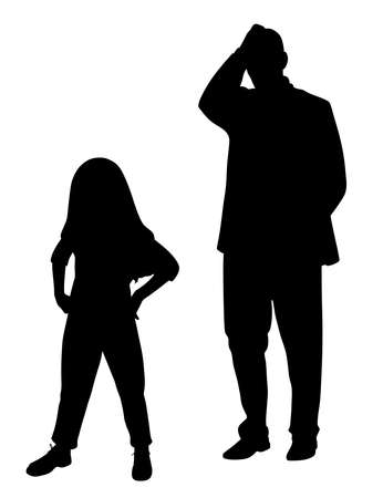 Desperate stressed father holding hand on head in frustration because of his defiant disobedient child. Parenting difficulties. Parent dealing with child behavior problem.