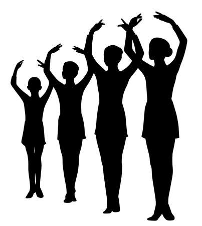 Group of four girls ballerinas standing in a row with raised hands