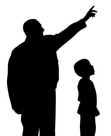 El padre le está mostrando algo a su hijo asombrado. El hombre está apuntando a algo hacia arriba con un gesto de la mano. El niño pequeño está mirando con cara de sorpresa.