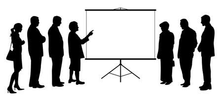 Business woman coach consultant showing presentation on projection screen to business people group. Female manager teacher executive leader giving presentation to business team colleagues. Copy space.