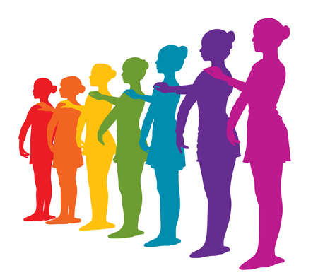 Illustration of rainbow colored row of seven ballerinas girls. Rainbow colors silhouettes of seven ballerinas standing in a row. Isolated white background. EPS file available. Çizim