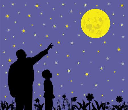 La ilustración de un padre muestra la luna llena a su hijo asombrado. El padre está apuntando a la gran luna llena y su hijo está mirando con expresión de asombro. El padre le está enseñando al niño sobre ciencia, astronomía o religión. Archivo EPS disponible.