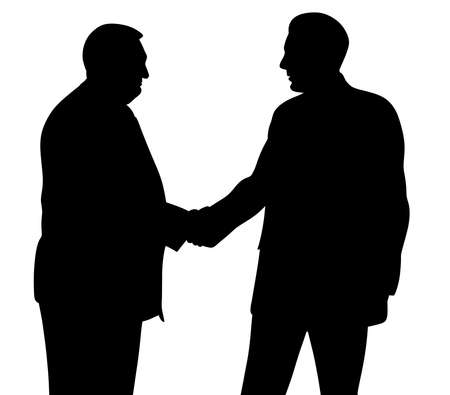 Two businessmen handshaking. Senior and young businessmen shaking hands.