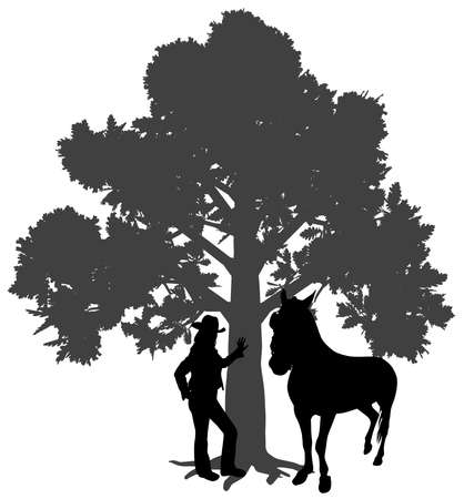 Illustration silhouette of a young woman standing with horse under oak tree. Young girl is leaning against a tree. Woman leaned a hand on trunk of tree. Isolated white background. EPS file available.