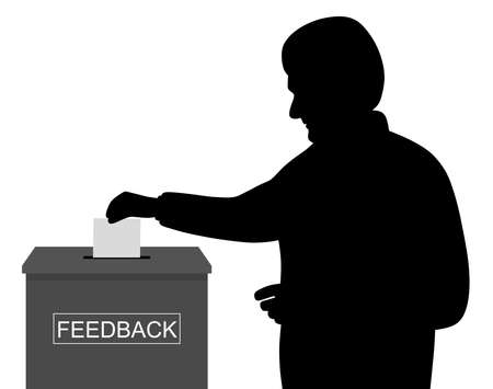 Illustration of a man customer or businessman employee worker inserting or putting blank paper or envelope in feedback box. Isolated white background. EPS file available. Ilustracja