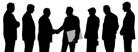 Business people group at a meeting with two businessmen shaking hands and one of them holding folder with contract