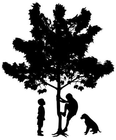 Illustration silhouettes of two best friends, little boys with dog. One boy is climbing up a tree while another boy is standing and looking with wow face expression at his friend climber. Isolated white background. EPS file available.
