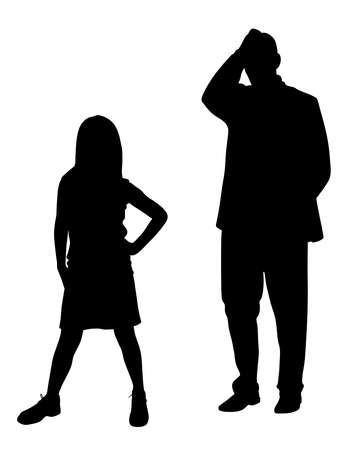 Illustration silhouette of desperate stressed father holding hand on head in frustration because of his stubborn defiant disobedient rebellious teenager daughter child. Parenting difficulties. Parent dealing with teenage child behavior problem. Isolated white background. EPS file available. Illustration