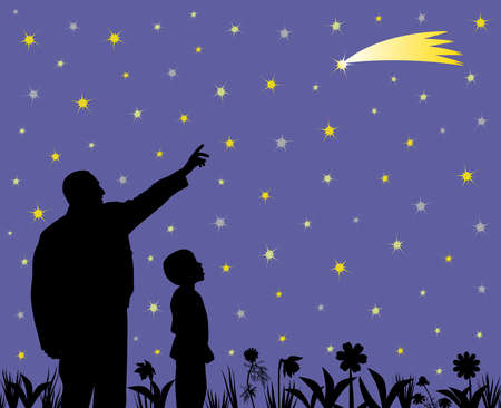 Father is showing shooting star to his amazed son in the garden. Father is pointing at shooting star going across the star field. Little child is looking at long tail star with wow face. Father is teaching kid about science, astronomy and explains to him that falling star can be comet, meteorite, asteroid or just a lucky star, so his son can make a wish by seeing at falling star. EPS file available.