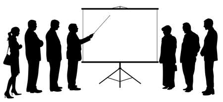Illustration silhouette of a business man coach consultant with pointer stick showing presentation on blank white projection screen to business people group. Businessman manager teacher boss executive leader giving presentation to business team colleagues. Copy space. Isolated white background. EPS file available.