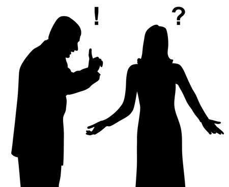 Illustration silhouette of an annoyed dissatisfied outraged man is yelling and blaming a puzzled confused woman who is spreading her hands in gesture of asking question why. Unhappy couple arguing. Angry displeased man is shouting and threatening woman. Misunderstanding  crisis and problems in relationship. Isolated white background. EPS file available.