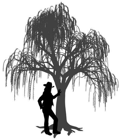 Illustration silhouette of a young woman with hat is leaning against a weeping willow tree. Woman leaned a hand on trunk of weeping willow tree. Young girl is standing under a weeping willow tree. Isolated white background. EPS file available.