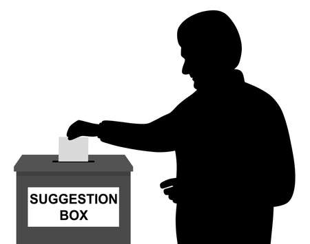 Illustration of a man businessman employee or customer inserting or putting blank paper or envelope in suggestion box. Feedback concept. Isolated white background. EPS file available.