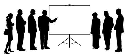 Illustration silhouette of a business man coach consultant showing presentation on blank white projection screen to business people group. Businessman manager teacher boss executive leader giving presentation to business team colleagues. Copy space. Isolated white background. EPS file available. Stock Illustratie