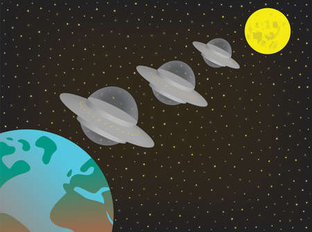 Illustration of three UFO alien extraterrestrial spaceships flying in a row between moon and earth. Three silver flying saucers hovering in the night sky between full moon and planet earth. EPS file available.