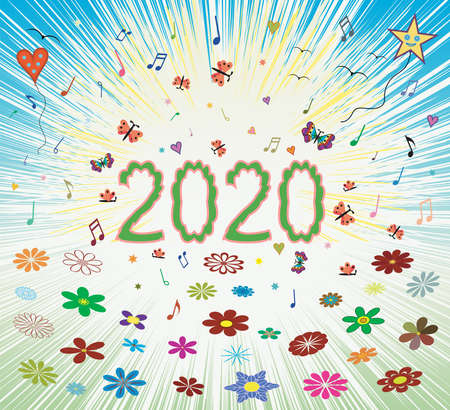 Happy spring summer 2020 sunrise abstract colorful background with bloom blossom number letters 2020. Cover for calendar, greeting card, web page, holiday background. EPS file available. Illustration