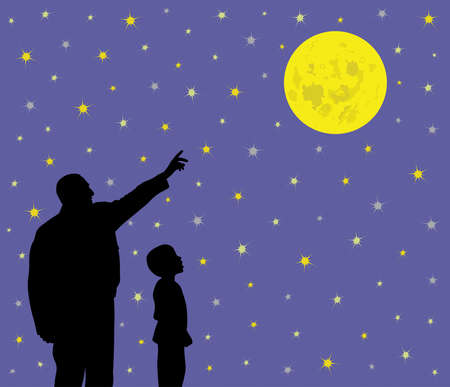 Father is showing full moon in beautiful bright sparkling starry night sky to his amazed child. Father is pointing at big full moon and his little son is looking with wow face expression. Father is teaching kid about science, astronomy or religion.