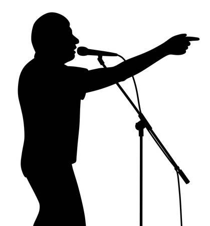 Man businessman politician speaker lecturer public speaking motivational speech with finger pointing or singer is pointing Illustration