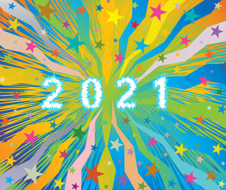 Happy New Year 2021 celebratory colorful burst background with stars and frozen ice number letters 2021. EPS file available.