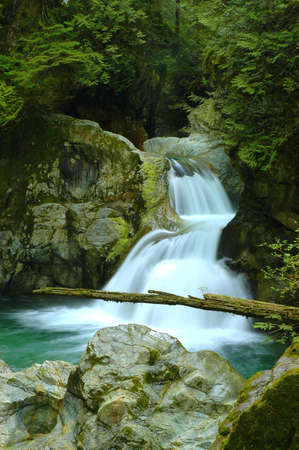 Twin canyon water fall in the Lynn Valley park Stock Photo