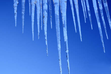 Beautiful icicles against a backdrop of the sky