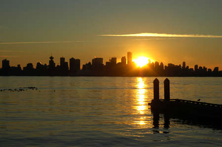 Beautiful Vancouver sunset with dock in the foreground