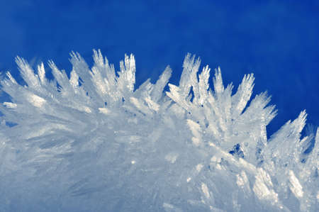 Tiny ice crystals formed on a cold winter day Stock Photo