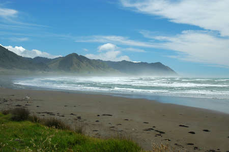 Isolated beach on the east coast of New Zealand Stock Photo