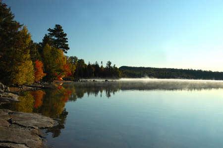flack: Misty bay at sunrise over Flack lake, Ontario