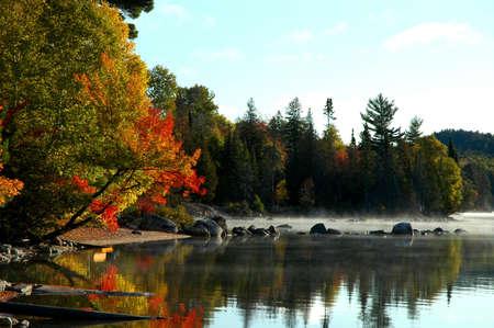 sheltered: Sheltered lake shore at sunrise, Ontario
