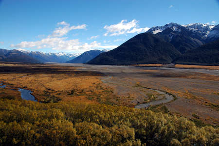 The Waimakariri river flood plain in beautiful New Zealands South Island Stock Photo