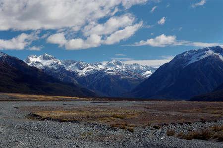 Waimakariri River flood plain and mountains of New Zealand